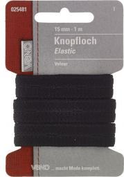 Knopfloch Elastic Velours SB 15mm schwarz