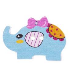 button 2-hole wood elephant