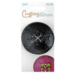 Crafting with buttons 9 hole large black