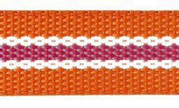 Webbing 30Mm Orange / White / Pink Striped 100%Pp