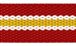Webbing 30Mm Red / White / Yellow Striped 100%Pp