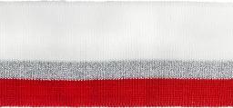 Bündchen 40mm weiß/silber/rot