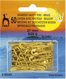 Safety Pins Guarded Brass 27mm