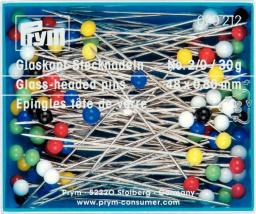 Glass-head pins 48x0.80 si-col col 30g