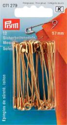 Safety pins brass 57mm go-col 12pc
