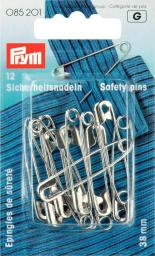 Safety pins H&T 38mm si-col         12pc