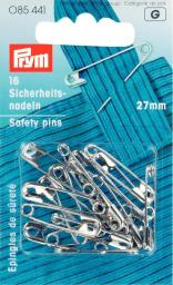 Safety pins H&T 27mm si-col         16pc