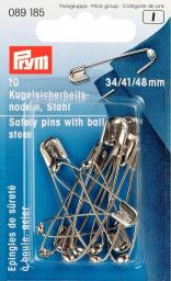Ball safety pins st 34+41+48 si-col 10pc