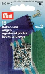 Hooks & Eyes brass 2 si-col         12pc