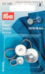 Flexi-Knöpfe mit Schlaufe 10 + 15 + 19 mm
