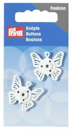 Annäh-Druckknöpfe Schmetterling 25 mm weiß