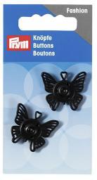 Annäh-Druckknöpfe Schmetterling 25 mm schwarz