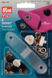 NF-Druckknopf Jersey glatte Kappe MS 12 mm schwarz