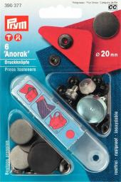 NF-Druckknopf Anorak flach MS 20 mm brüniert
