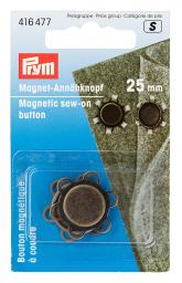 magnetic button sew on 25mm antique brass