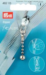 Fashion-Zipper Kugelkette silberfarbig