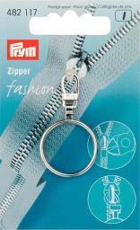 Fashion-Zipper Ring silberfarbig