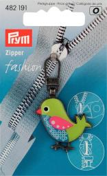Fashion-Zipper f.Kinder Vogel grün/blau