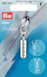 Fashion-Zipper Strass silberfarbig matt
