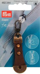 Fashion-Zipper Leder/Metall braun