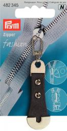 Fashion-Zipper Leder/Metall grau