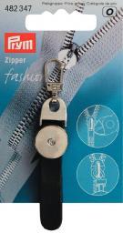 Fashion-Zipper Löwenkopf schwarz/silber