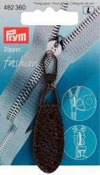 Fashion-Zipper Lederimitat oval dunkelbraun