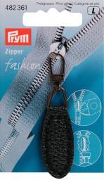 Fashion-Zipper Lederimitat oval dunkelblau