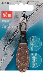 Fashion-Zipper Lederimitat oval taupe