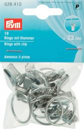 Rings with clip 22mm sil-col.       10pc