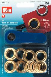 Eyelets + washers  14mm br gilt 10pc
