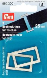 Rechteckringe für Taschen 25 mm silberfarbig