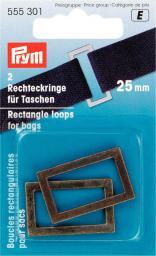 Rechteckringe für Taschen 25 mm altmessing