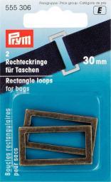 Rechteckringe für Taschen 30 mm altmessing