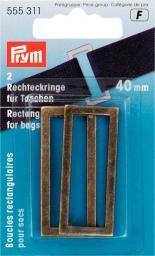 Rechteckringe für Taschen 40 mm altmessing