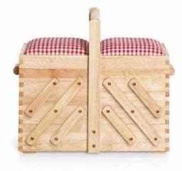 Nähkasten Holz hell M mit Stoff