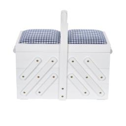 sewing basket wood M white with fabric