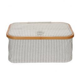 Sewing basket canvas & Bamboo foldable grey