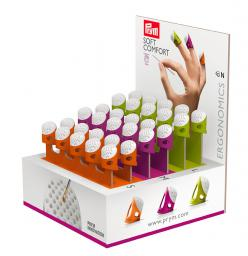 Display mit 3 x 10 Fingerhüten Ergonomics farbig sortiert