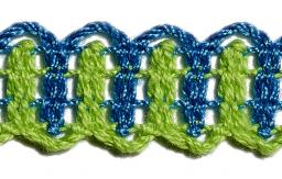 Bobbin Lace 16Mm Two-Coloured Light Green / Blue Jean
