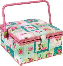 Sewing Basket Cotton Patchwork Flowers