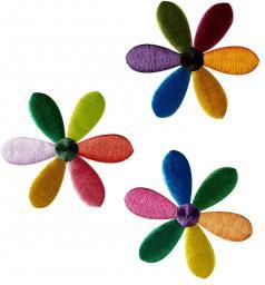 Applikation Sort. 3x2 Blüten