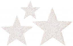 Applikation Sort. 3x2 Sterne weiß glitter