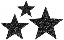 Applikation Sort. 3x2 Sterne schwarz glitter