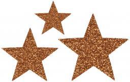 Applikation Sort. 3x2 Sterne kupfer glitter