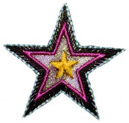 Motif assortment 2x3 to iron on black-pink stars