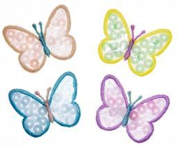 Applikation Sort. 4x2 Schmetterlinge Pailletten
