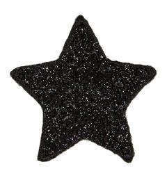 Applikation Stern schwarz Pailletten