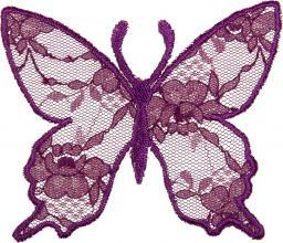 Applikation Schmetterling Spitze lila