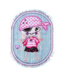 Patch Piratenmädchen, Jeans mit Fransen